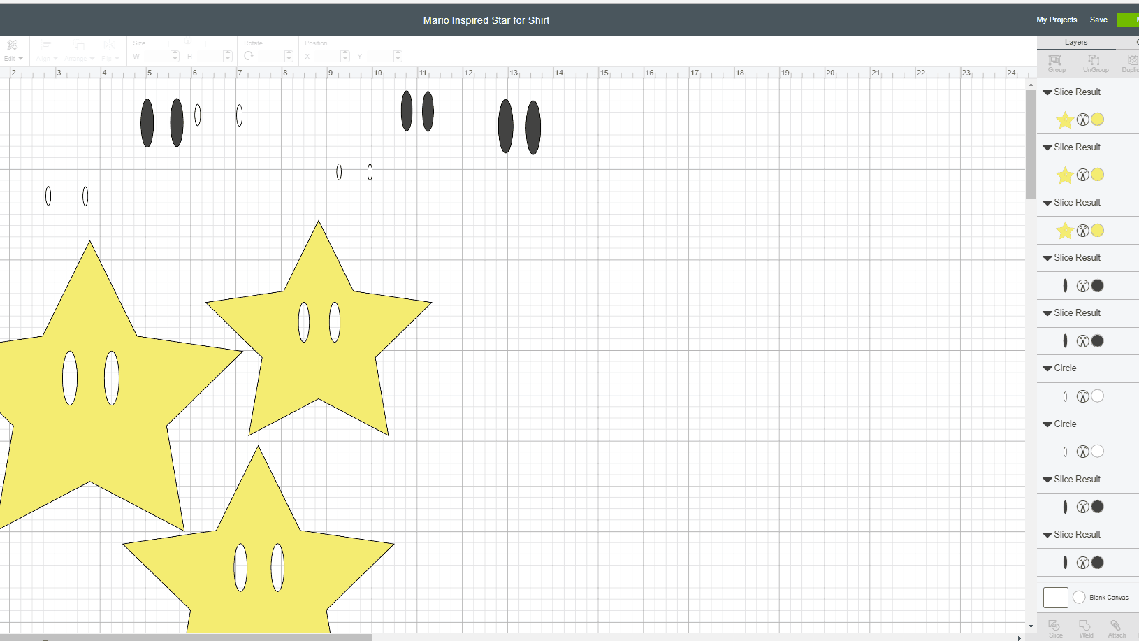Free Cricut Cut file for a Mario Invincible Star, aka the Super Star or Starmen.