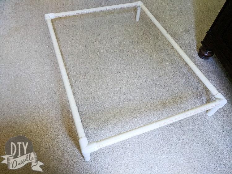 Assembled PVC base for dog bed.