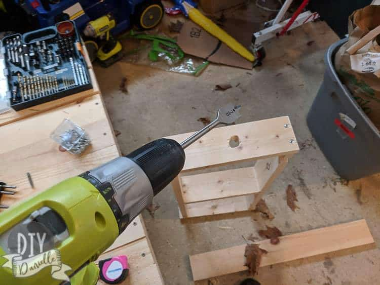 Using a spade bit to create a perfect size hole for an electric toothbrush. The hole in the photo was attempted with a jig saw and is a bit wonky.