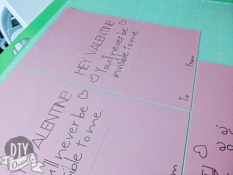 Write and cut for a Valentine's Day card using the Cricut maker.