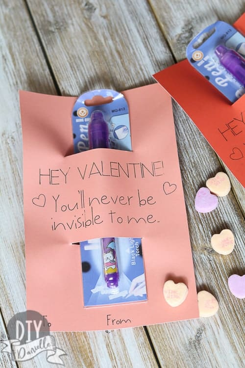 Valentines Day Card with Invisible Ink Pen attached.