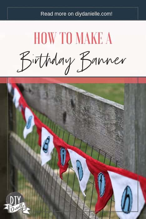 Red white and blue Birthday Banner that was made from upcycled fabric for my son's Dr. Seuss / Cat in the Hat party.