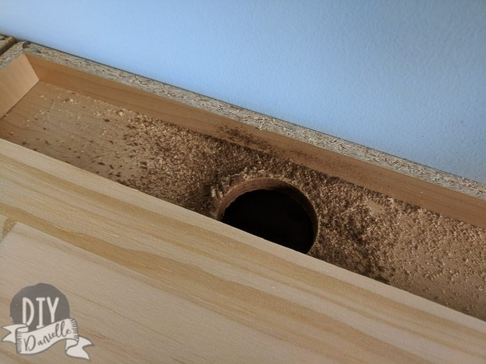 Hole created to run electrical cords.