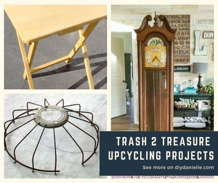 Trash 2 Treasure Upcycling Projects for your home. Pictured: Old tv tray, old fan, old clock.