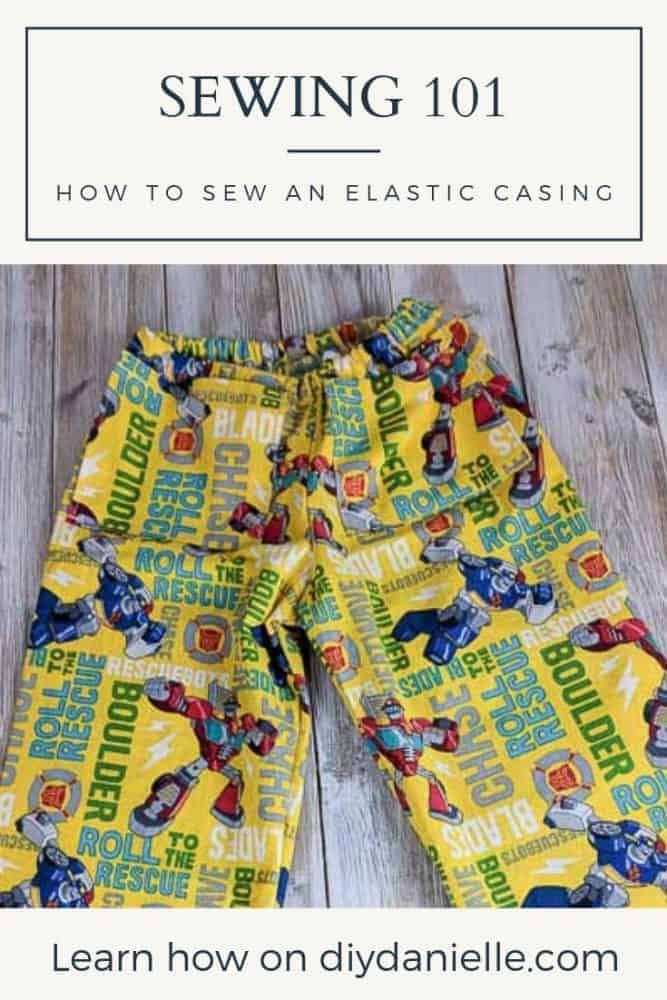 Learn how to sew a casing for adding elastic to items like pants!