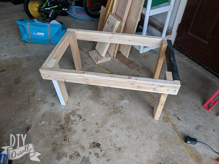 Rectangular frame of the milking stand. No floor yet.