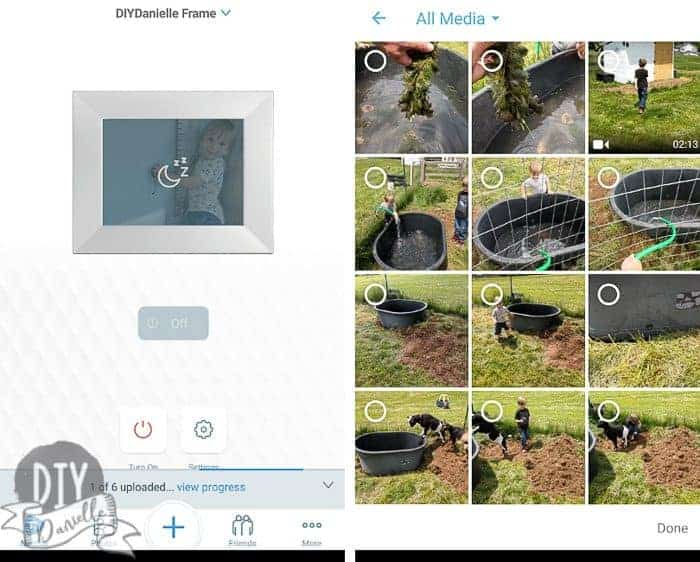 Screenshots showing how to send photos using the Nix phone app.