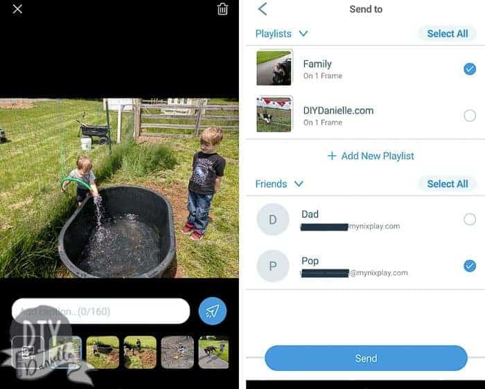 Screenshots of the NixPlay app. Left: Add captions to the photos you want to send. Right: Select the playlists/friends you want to send the photos to.