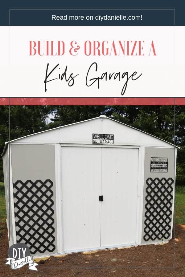 Organize all of your outdoor kids toys in an easy to build shed. This can hold ride on toys, Nerf guns, bikes, and more!