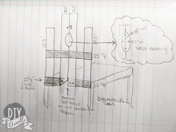 Sketch of the stanchion with the measurements.