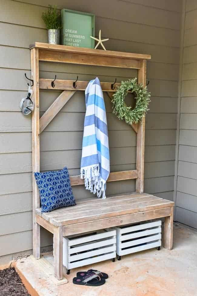 DIY Farmhouse style hall tree for pool towels