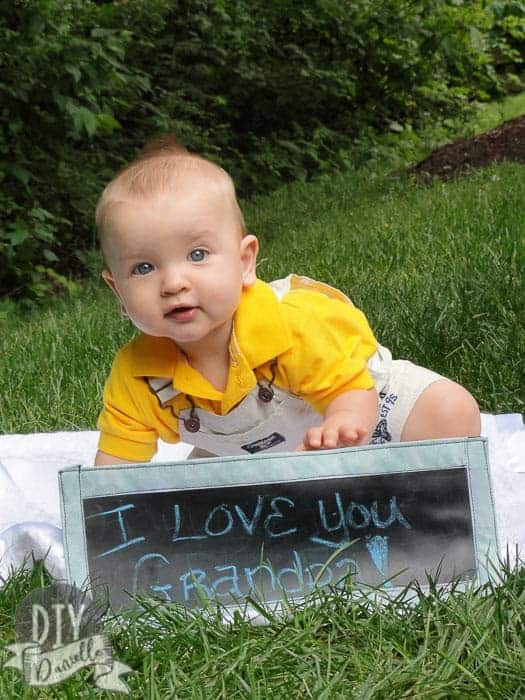 """I love you Grandpa"" photo: DIY banner and DIY baby photos to give to Grandpa for a Father's Day gift."