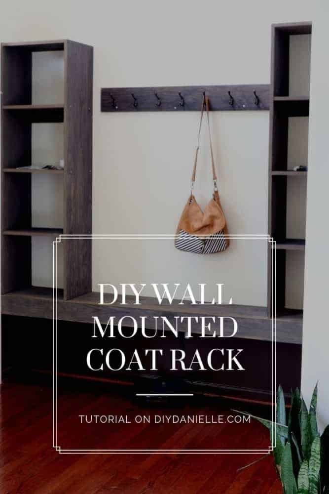 This easy to make wall mounted coat rack is perfect for the entryway in your home. Lots of space to put backpacks and coats!
