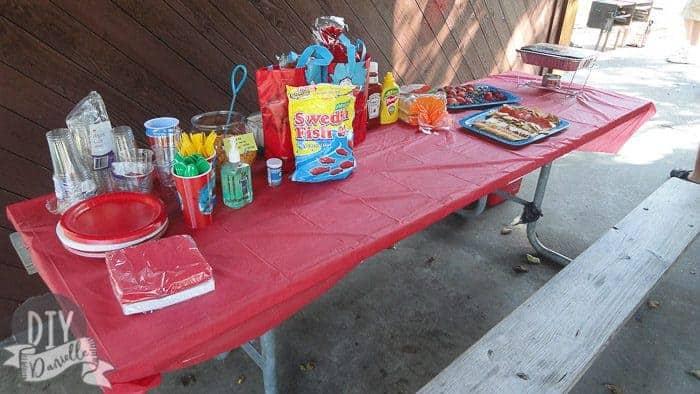 Setup for Dr. Seuss party.