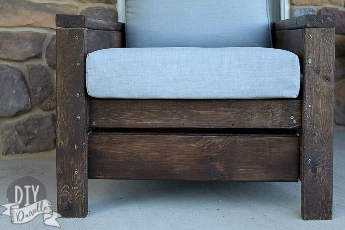DIY Outdoor Chairs: Close up photo. Rustic look with Cordovan Brown stain and gray cushions.