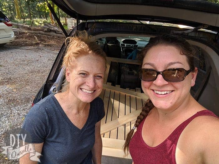 Scottie from SavedByScottie and Danielle from DIYDanielle after our wood screen door build.