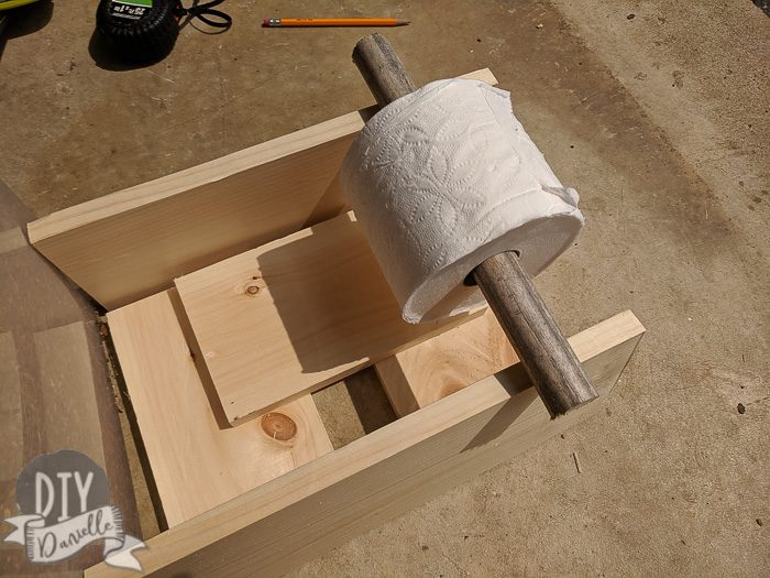 Dowel cut for the toilet paper holder.
