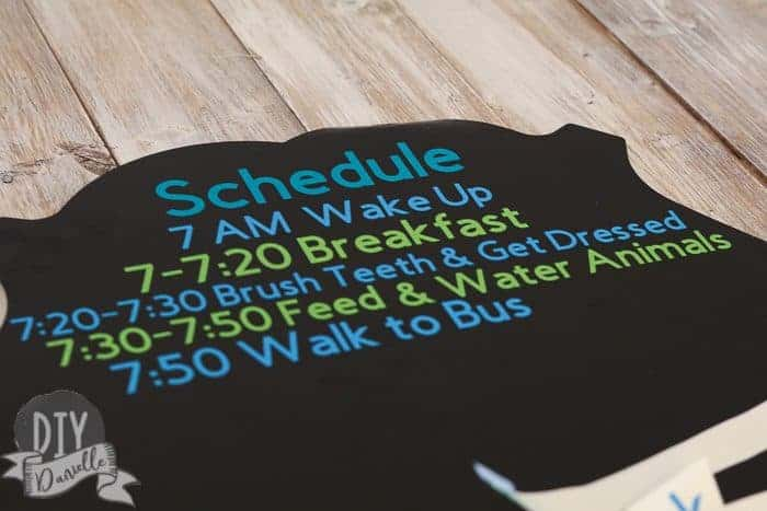 Part of the schedule items applied to the chalkboard with Cricut vinyl.