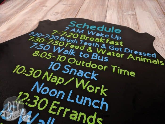 Family schedule for Back to School, made with the Cricut and a large chalkboard.