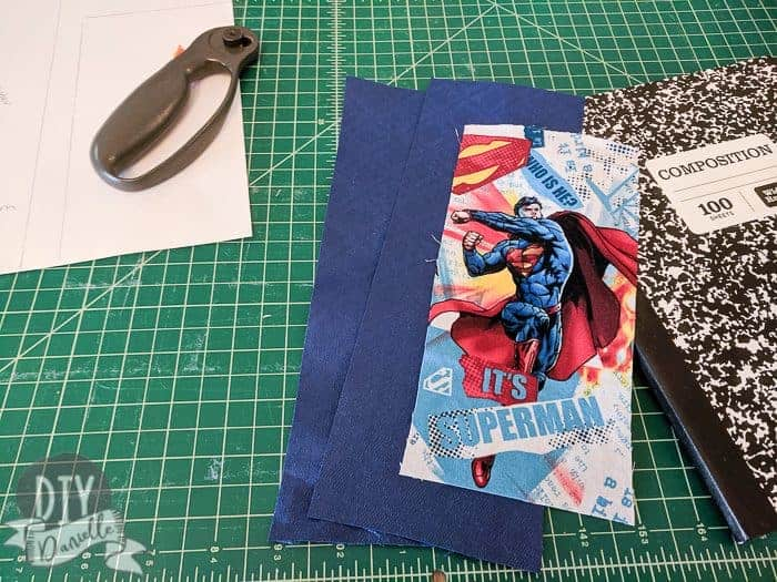 Superman fabric with matching blue solid fabric.