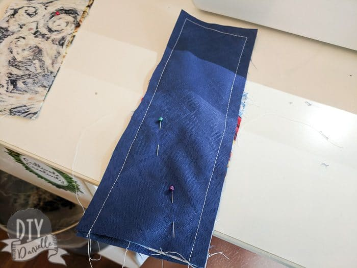 Sewing bookmark right sides together.
