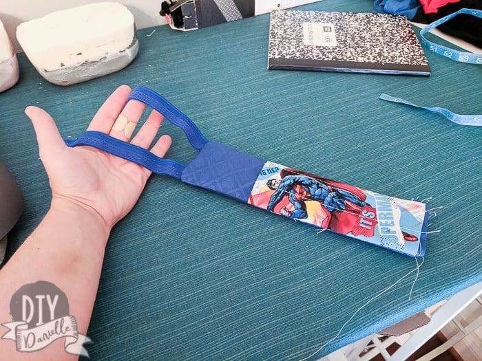 Bookmark pulled right sides. Elastic for back pulled out too.