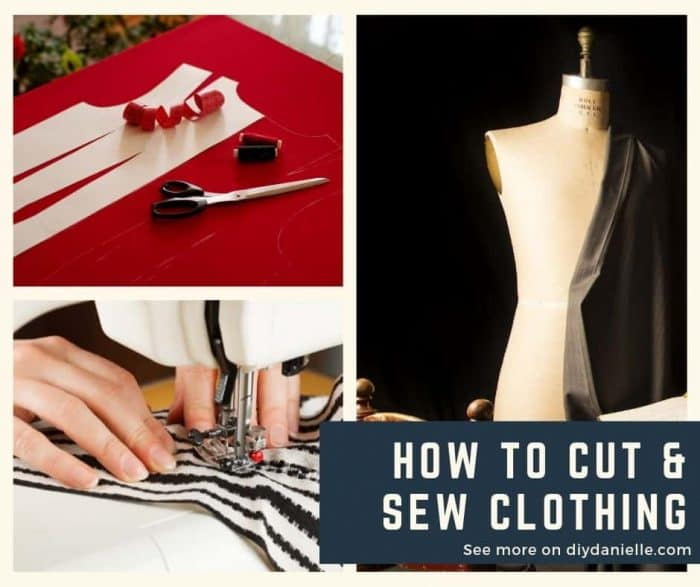 How to cut and sew clothing. A beginner's guide. Photos: Cutting fabric, sewing fabric, and fabric draped on a dress form.
