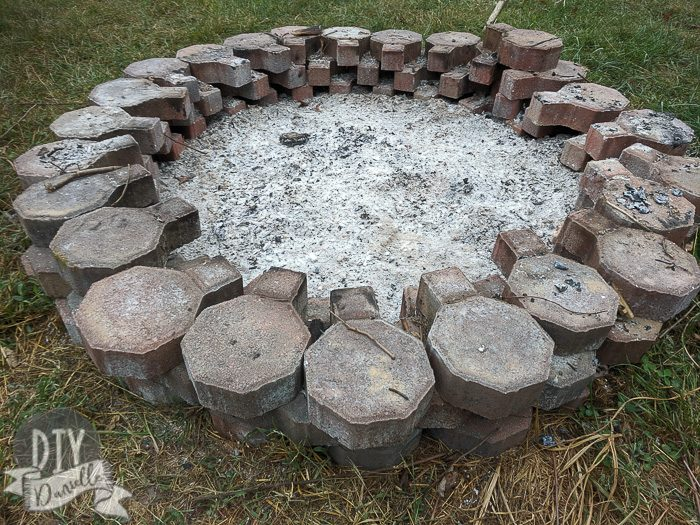 Ash from fire inside a homemade fire pit.