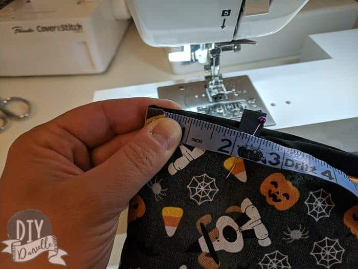 """Attaching the straps. They're 2.25"""" in from side seam."""