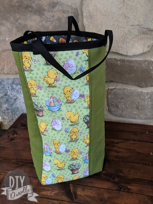 Easter basket on the outside. There's Halloween fabric on the inside to make for a reversible bag.