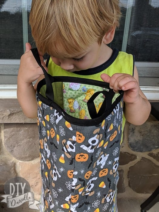 My son, looking for candy. Alas, it's not Halloween yet!