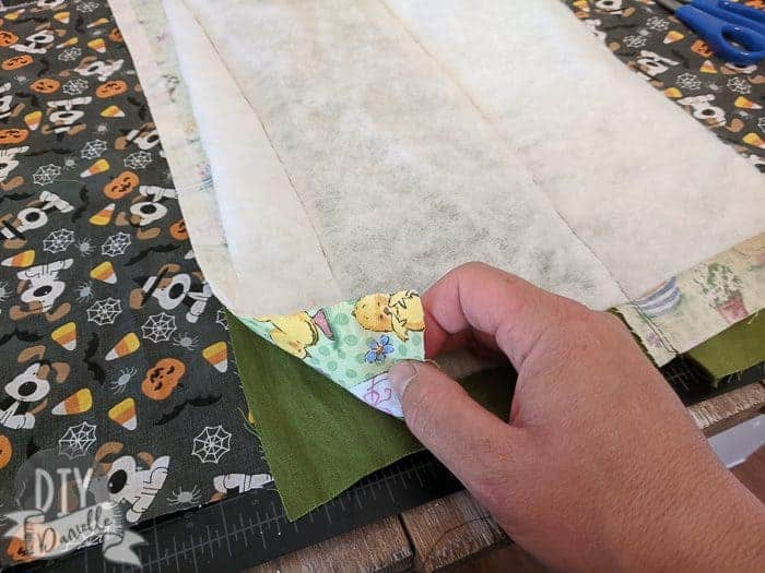 Quilting on batting for the Easter fabric.