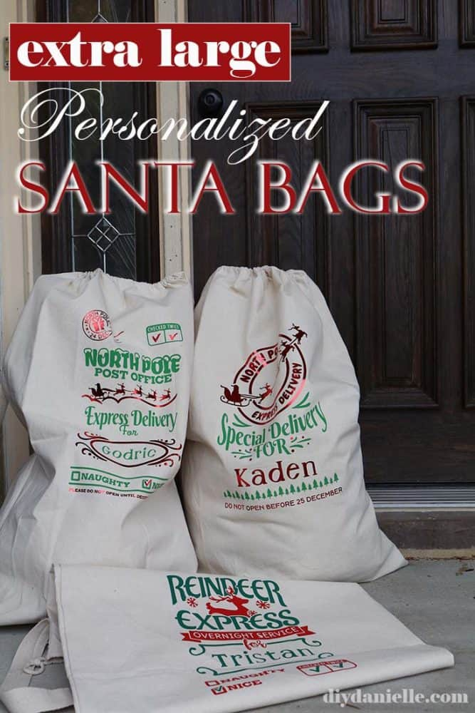 DIY Personalized Santa Bags for Christmas. Learn how to make extra large Santa sacks with Cricut HTV.