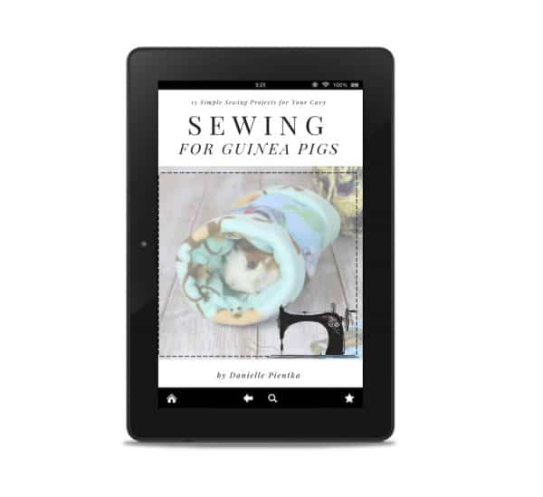 eBook: Sewing for Guinea Pigs pictured in mockup for tablet.