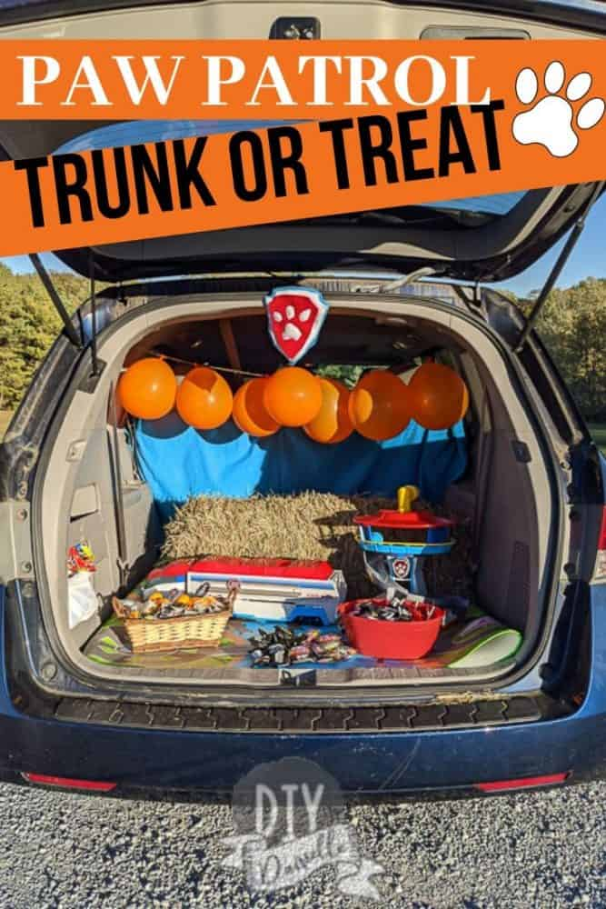 Paw Patrol trunk for Trunk or Treat! This simple setup was super cute but didn't break the bank!