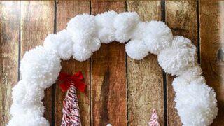 DIY Yarn Pom Pom Christmas Wreath with Felt Gingerbread House