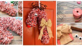 Candy Cane Reindeer Wreath