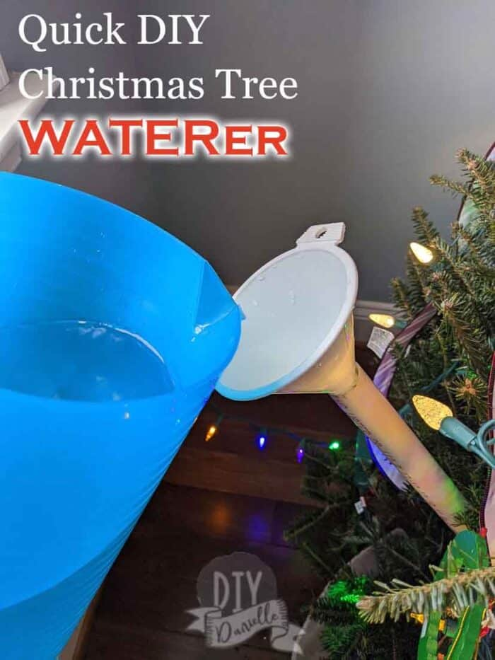 Adding water to a funnel Christmas tree waterer. Super easy DIY!