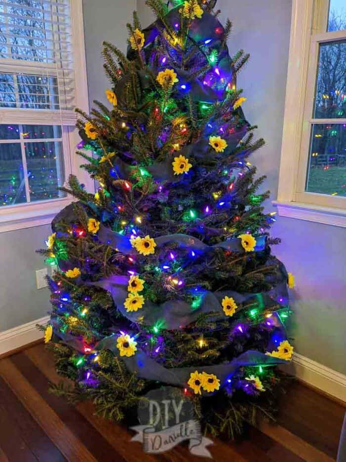 Sunflower tree with multi colored lights (red purple yellow blue)