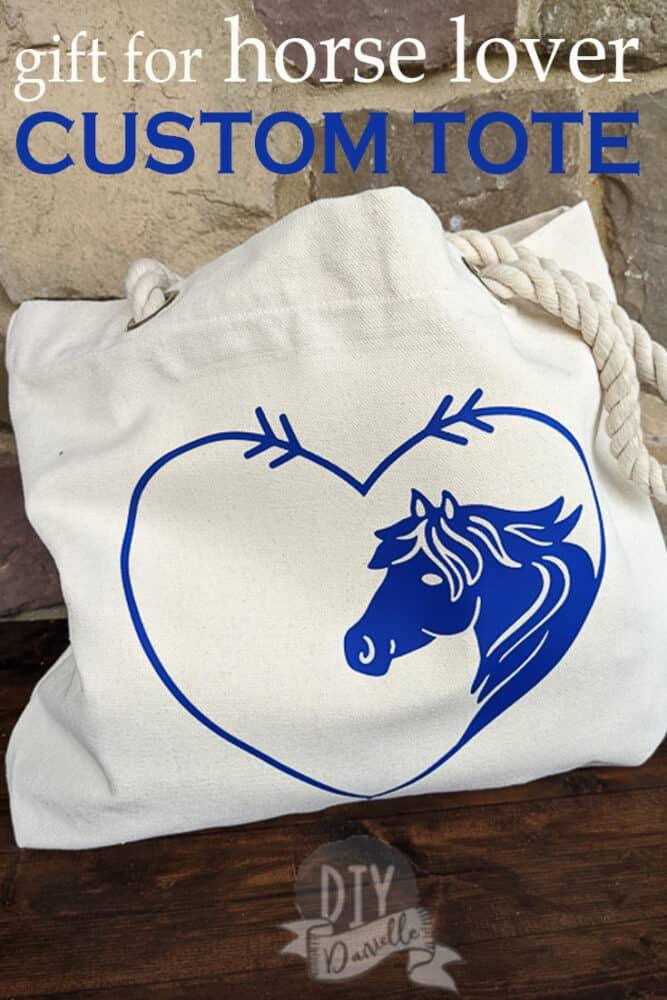 Gift idea for a horse lover. Custom tote with pocket! Make it with your Cricut.