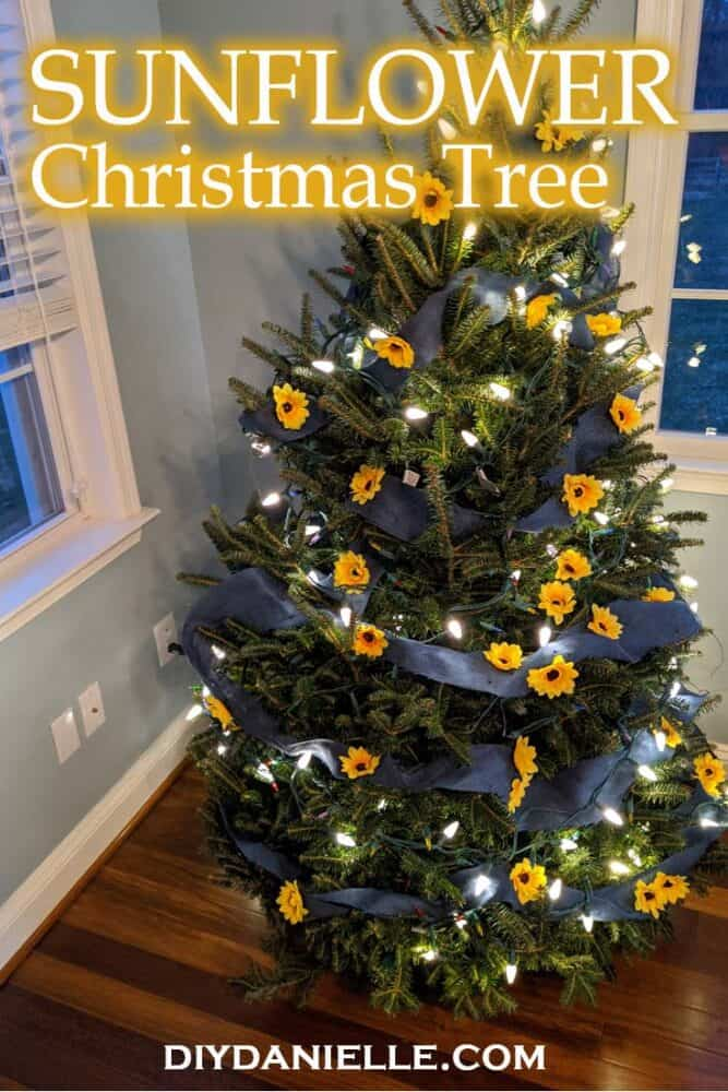Learn how to make this easy sunflower Christmas tree with some blue burlap and sunflowers.