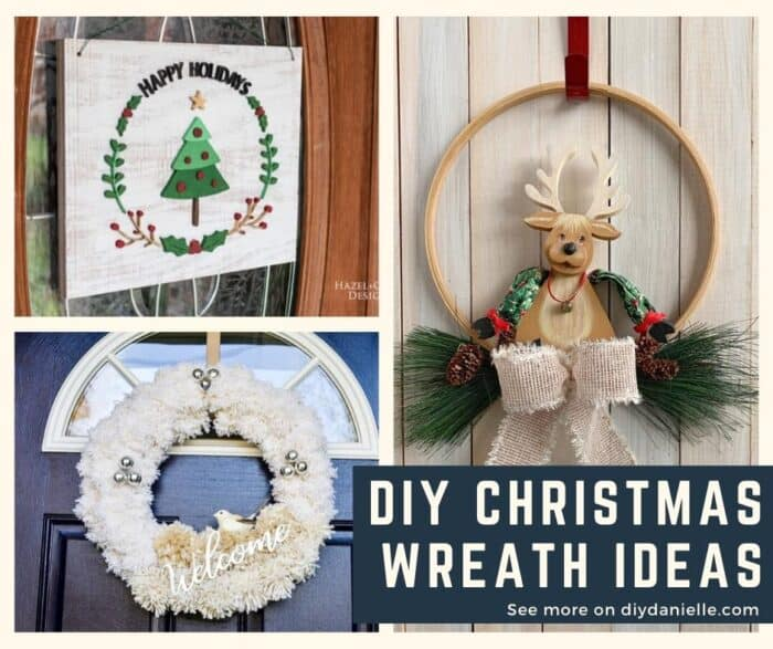 DIY Wreath Ideas for Christmas and winter decor. Pictured: Wood wreath with Christmas tree, Embroidery hoop wreath with Reindeer, and White wreath with jingle bells and a white bird.