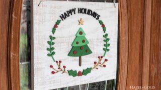 DIY Wooden Holiday Wreath Door Sign