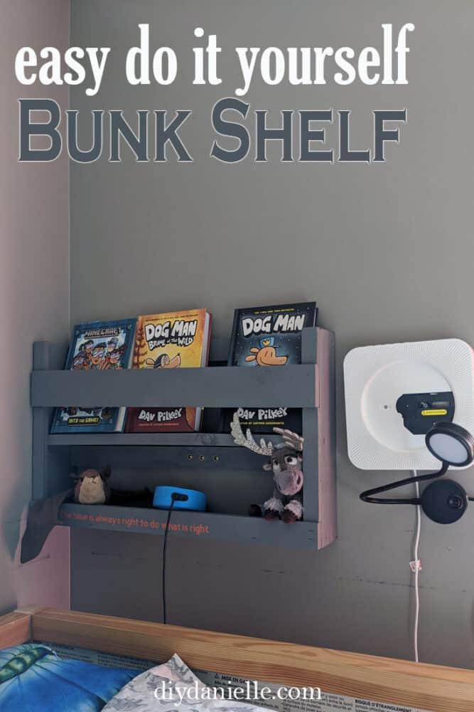 easy DIY bunk bed bookshelf for kids.