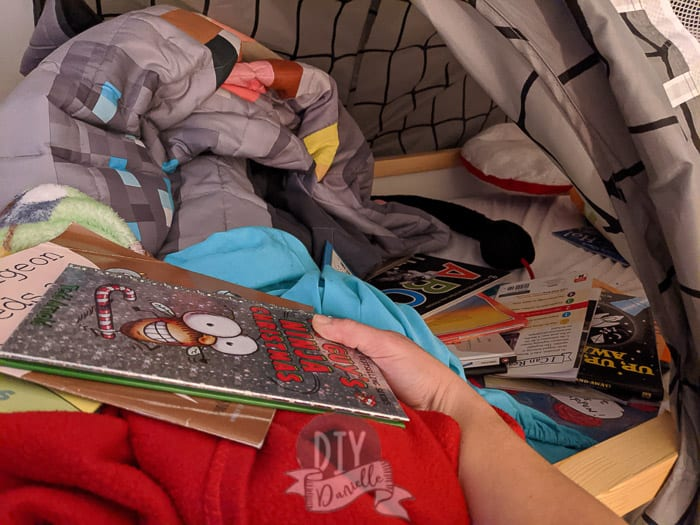 loads of books in my son's bunk bed