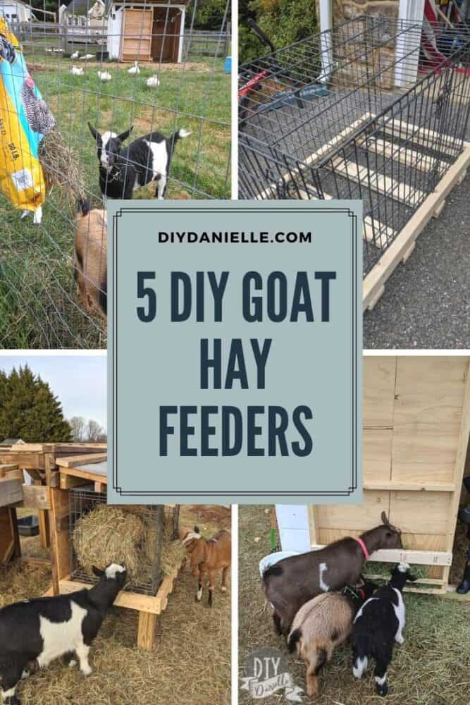 5 DIY Goat Hay Feeders to make for your goats! These are intended to reduce waste, help increase activity, and keep hay dry.