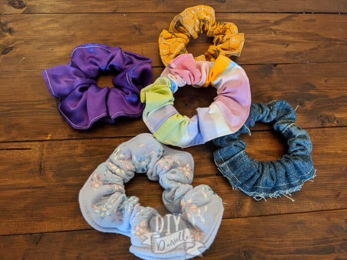 5 scrunchies that I made for my friend's daughter.