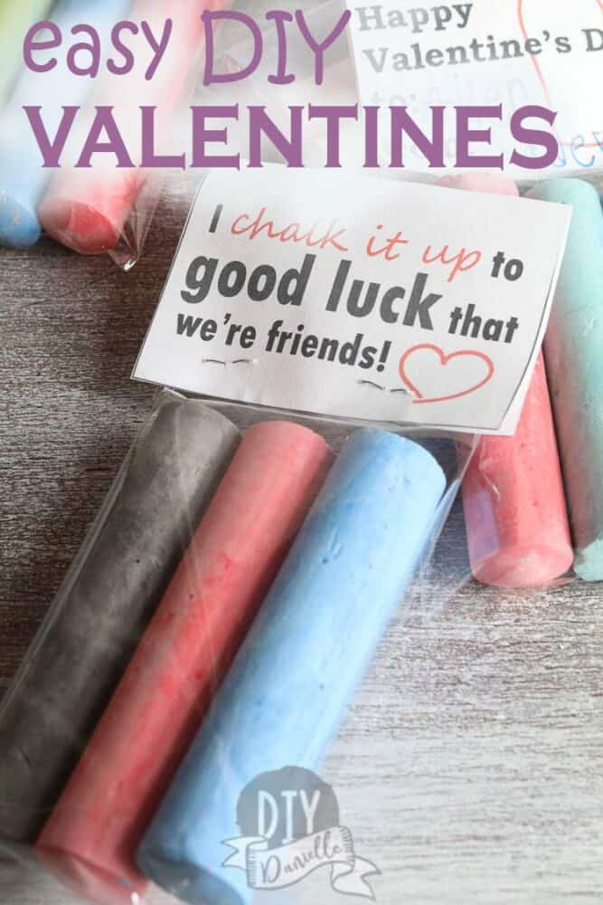 Make these easy DIY Valentines cards for kids with sidewalk chalk! Such a cute practical idea if you have warm spring weather coming!