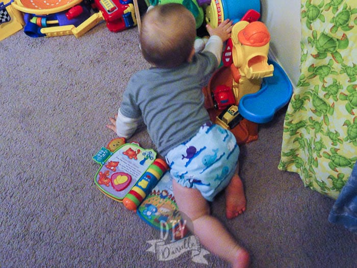 Here's a back photo of my son crawling around in a tshirt diaper! Perfect!