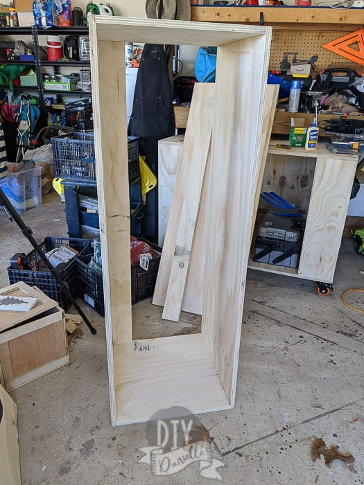 """Large 56"""" shelves for the top of the mudroom."""